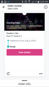 Counting Crows Tonight -we can no longer go ! Main Floor !! in Aurora, Illinois