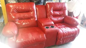 Leather Recliner Love Seat with Console in Yucca Valley, California