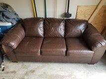 Brown Leather Couch. in Fort Campbell, Kentucky