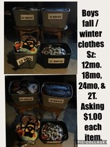 Boys fall & winter clothes Sz: 12, 18, 24, & 2T in Orland Park, Illinois