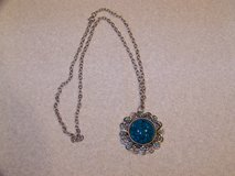 Necklace with Silver Tone and Turquoise Pendant in Aurora, Illinois