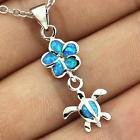 New - Dainty Blue Fire Opal Turtle Necklace in Alamogordo, New Mexico