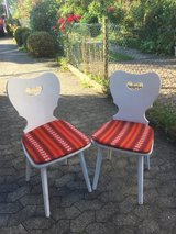 Wooden storage bench and chairs with cushions in Stuttgart, GE