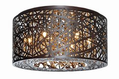 ET2 Lighting Flush Mount w/Clear and White Glass Shades, Bronze in Chicago, Illinois