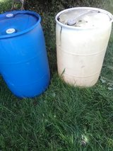 Two plastic 55-gallon drums in Fort Knox, Kentucky