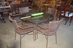 Glass Top Wicker Table and 4 Chairs in Tacoma, Washington