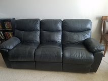 Black leather reclining couch in Las Vegas, Nevada