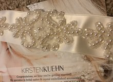 Hand beaded and embroidered ivory bridal sash in Brookfield, Wisconsin