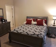 Gray Distressed Queen Sz. Sleigh Bed in Kingwood, Texas