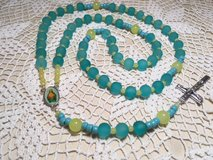 image 0 image 1 ??zoom Rosary Aqua Frosted Glass Beads Yellow Sunshine Accents Full Color Middle... in Houston, Texas