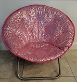 Pink/Silver Microsuede Folding Saucer Chair in Houston, Texas