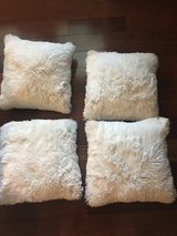 """4 New White Fur 16"""" Square Pillows in Glendale Heights, Illinois"""