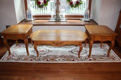 Oak coffee table and two end tables with drawers in Naperville, Illinois