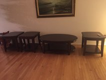 Cherry wood coffee table and 3 end tables in Glendale Heights, Illinois