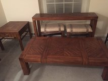 Dark Oak sofa table with stools, coffee table and end table in Glendale Heights, Illinois