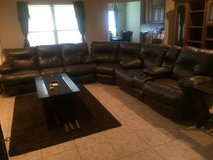 3 Piece Brown Faux couch set in Fort Polk, Louisiana
