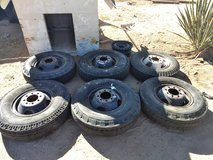 Six 8 lug Split Rim Wheels with 7.50 16 LT used tires in Yucca Valley, California