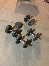 Dumb bell and weight set-4 dumb bells and 140 lbs weights in Chicago, Illinois