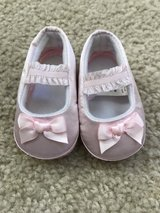 new pink satin newborn booties in Chicago, Illinois