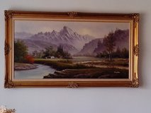 Framed Vintage Oil Painting on Canvas in Tinley Park, Illinois