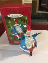 Hallmark Hooray for the USA Ornament - Red/White/Blue Santa - Dated 2000 in Bolingbrook, Illinois