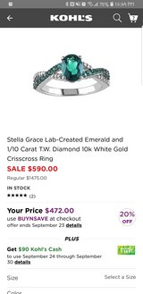 White Gold Emerald and Diamond Ring in Naperville, Illinois