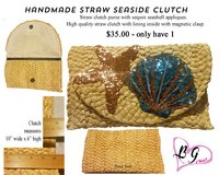 Handmade Straw Clutch with Sequin Seashell's in Houston, Texas