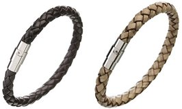 Men's Leather Rope Bracelet with Metal and Magnetic Clasp in Houston, Texas