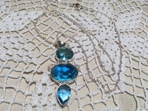 Blue Topaz Pendant on Sterling Silver Chain Three Large Stones Faceted Different Sizes and Shape... in Houston, Texas
