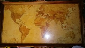 Antique wooden world atlas table in Fairfield, California