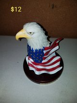 Eagle wrapped in American flag decor in Vacaville, California
