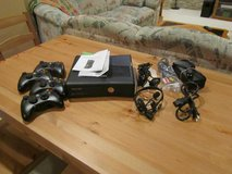 Xbox 360 Slim w/4 controllers & extra internal hard drive (100 GB) in St. Charles, Illinois