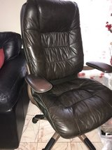 Brown Leather desk chair w/rollers in Kingwood, Texas