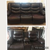 Power reclining Leather Couch and Manual  recliner Love in Joliet, Illinois