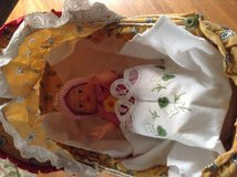 Wood Vintage stroller with a vintage doll and gorgeous embroidered blanket cloth in Ramstein, Germany