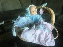 American Girl Doll - Bitty Baby, 2 outfits, Pajamas and travel basket in Beaufort, South Carolina