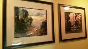 """Large Pair Pictures 48"""" Tall X 52"""" Wide Landscape Texture Frames Fabric Matting in Glendale Heights, Illinois"""
