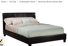 Brand New Queen Leather Bed Set ( Headboard, Footboard and Rails) in Aurora, Illinois