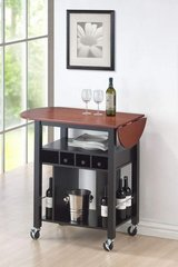 Roundhill Furniture Cherry Drop Leaf Wine Serving Cart on Wheels in Vacaville, California