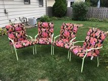 4 wrought iron patio chairs/new cushions in Tinley Park, Illinois