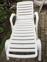 Adjustable White Plastic Chaise Lounge Patio Pool Recliner in Oswego, Illinois