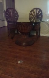 """50"""" Beveled Glass Topped, Pedestal, Dining Table & 4 Matching Chairs in Yucca Valley, California"""