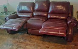 Red Leather Double Recliner Couch in Yucca Valley, California