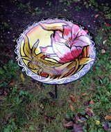 Hummingbird Flower Glass Bird Bath Feeder with Metal Stake Stand in St. Charles, Illinois