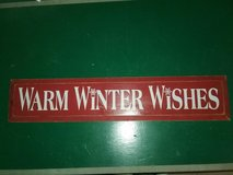 Large Warm Winter Wishes wooden sign in Morris, Illinois