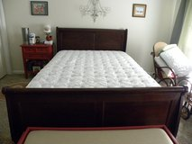Queen Size Sealy Posterpedic Mattress with Adjustable Frame and Sleigh Bed in Macon, Georgia