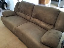 Brown suede reclining couch in Travis AFB, California
