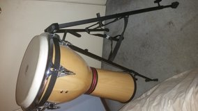 12 inch Siam Oak LP djembe and stand in Travis AFB, California