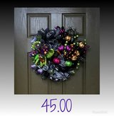 Halloween door wreaths in Baytown, Texas