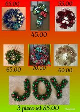 Christmas door wreaths in Baytown, Texas